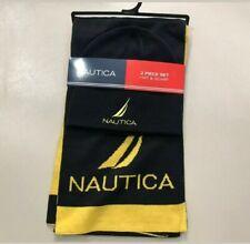 Nautica Men's Beanie Hat Scarf Gift Set, Dark Navy Yellow Combo, New Tag