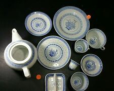 10 PIECES BLUE WHITE RICE PATTERN PORCELAIN CHINESE FLOWER-VINTAGE (S20)