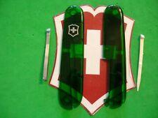 New Swiss Army Victorinox 91mm Emerald Plus Scales W/Toothpick-Tweezer Free Ship