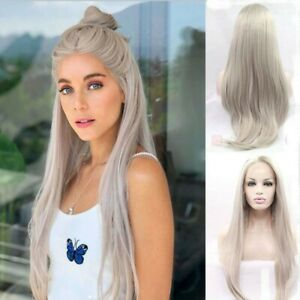 24inch Synthetic hair Lace front wigs  Silky Straight Silver grey Handtied