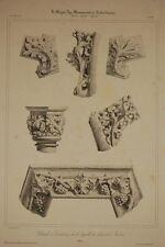 Chapelle du Chateau d'AMBOISE , détails, sculpture gothique, litho 19°