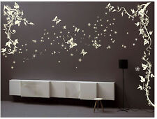 Butterfly Flower Tree Plants Wall Stickers Garden Floral Wall Decals Bedroom