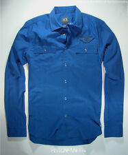 Armani Exchange A/X Mens Vivid Blue Aviator Wings Patch Snap Shirt SMALL NWT