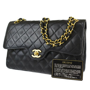 CHANEL CC Double Flap Matelasse Chain Shoulder Bag Leather Black France 325R456