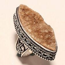 SMOKEY DRUZY AGATE VINTAGE STYLE 925 SILVER JEWELRY RING 6
