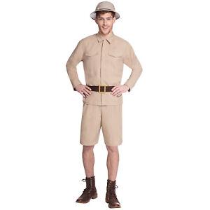 Adult Jungle Safari Man Fancy Dress Costume Explorer Zoo Keeper Outfit New