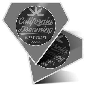 2 x Diamond Stickers 7.5cm BW - Surf California Coast USA America  #41912