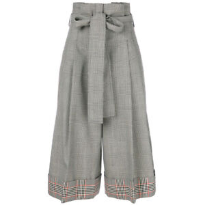 Alexander McQueen Prince of Wales Check Wide Leg Trousers Culottes IT40 UK8