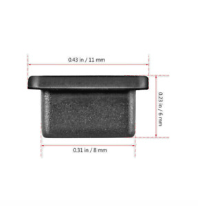 5x Anti-Dust Plug Black Rubber Silicone Cap for the USB Type-C Port of OnePlus 8