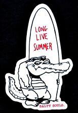 Salty Souls Gator with Surfboard Sticker Decal Salt Beach Surfing Fishing Life