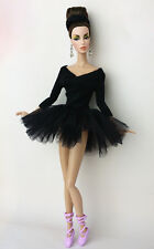 Schwarz Fashionistas Ballerina Handgefertigte Kleider Für Barbie Puppe