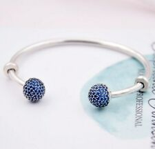 MOMENTS Open Bangle Pave Multicolor Caps WIth Cubic Zirconia Bangle Bracelet