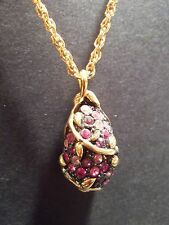 Joan Rivers Purple and Black Crystals Egg Pendant Necklace