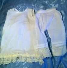 """Vtg.1960's?Cotton Slip & Pantaloons For 25"""" Antique Bisque Doll.Handmade.Vg.Cond"""
