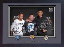 Nouveau Neymar Messi Ronaldo Signé Autographe Imprimé Photo encadrée