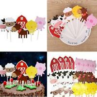 24Pcs Farm Animal Cartoon Cake Cupcake Topper Baby Shower Birthday Party Decor