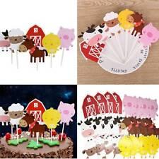 24Pcs Farm Animal Cartoon Cake Cupcake Topper Baby Shower Birthday Party Decor