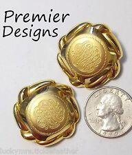 Swirl Monogram Style, Matte & Shiny Signed Premier Designs Clip Earrings, Gp