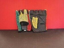 Guantes sin Dedos-Palma es de cuero negro-parte posterior es Rasta Colores Mesh-XS