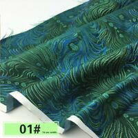 Chinese Style Damask Fabric Artificial Silk Jacquard Brocade Cloth By Meter Blue