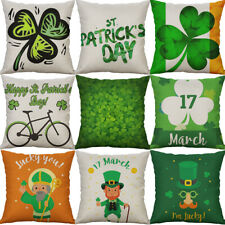"18"" St. Patrick's Day Cotton Linen Square Sofa Home Decor Throw Pillow Case"
