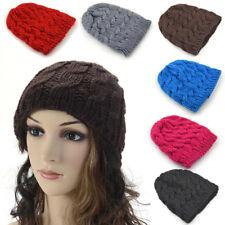 Mode Femme Tricot Hiver Chaud crochet chapeau tressé Bouffant béret bonnet