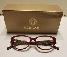 Versace Eyeglasses Frames - Dark Pink Magenta Frame Tortoise Shell & Gold Medusa