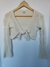 Vtg Hippie Boho Knot Tie Front Long Bell Sleeve Knit Crop Sweater Festival 60s