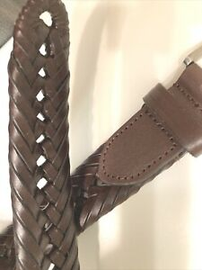 Brown Woven Braided Leather Belt Silver Tone Buckle Size 48 Unknown Maker