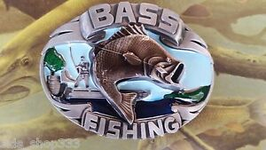 ✖ Fishing fish Belt Buckle Full Metal BASS  Antique silver color USA Country