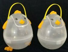 """Large Easter Storage Basket with handle Chick Shaped Swing door! 12"""" x 8"""" Two!"""