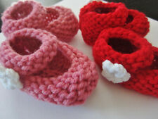 Baby Girl Shoes Mary Jane Socks Pink White Floral Flower Newborn Knit 0-3 month