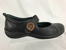 ECCO Mary Jane Women's Shoes Casual Leather Black Button Size US 8/8.5 EU 39