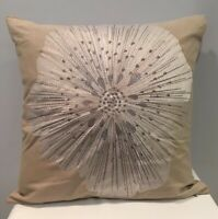 """Crate & Barrel Bloom Frost 20"""" x 20"""" Embroidered Pillow Cover Made In India NOS"""