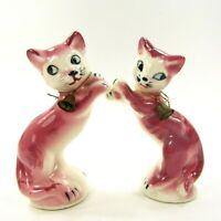 Vintage Pink Cat Salt Pepper Shakers Set with Bells Japan Ceramic Kitten  INV433