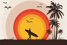 surfer tropical beach VINTAGE ART POSTER palm trees SURF BOARD birds 24X36
