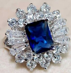 Flawless 4CT Blue Sapphire & Topaz 925 Sterling Silver Ring Jewelry Sz 6 UC7