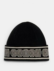 New W/tags Coach Signature Cashmere Black Beanie, MSRP $128.00