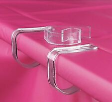(12pk) Clear Plastic Table Cloth Clips Tablecover Banquet Holder Clamp