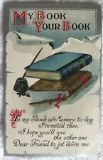 """""""Volumes of Good Wishes"""" vintage postcard 1910 unused books writers quill old"""