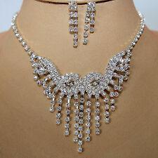 Juego de joyas collar pendiente cristal strass Novia Colgante Cadena Plata 75