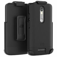 Motorola Droid Turbo 2 Armor DEFENDER Slim Rugged Case + Belt Clip Holster