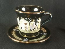 Vintage ADIS 24K Gold Black Hand Made in Greece Cup & Saucer