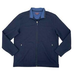 Johnson & Murphy Sweater Men's Size XL Blue Full Zip Casual Stretch Cardigan