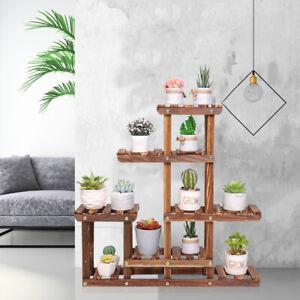 Multi Tier Wooden Plant Stand Holder Indoor Outdoor Flower Rack Display Storage