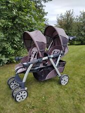 Chicco Cortina Double 2 Seat Baby Stroller Walker Grey Black   Great Condition.