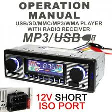 12V Retro Bluetooth Car Radio Audio MP3 Player FM/USB/SD/AUX with Remote Control