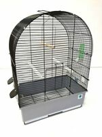 Crystal Large Metal Bird Cage for Budgie Canary Tray Perch Feeders - 2 Styles