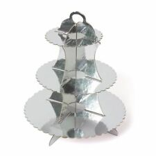 Silver 3 Tier Cupcake Stand Muffin Holder Cardboard Cake Rack Boys Kids Party
