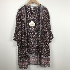 Women's Black Floral Print 3/4 Sleeve Kimono Jacket Knox Rose Size Large